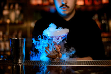Male bartender using metal shaker to mix an alcohol cocktail