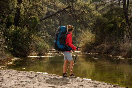 Female traveller standing by forest river shore
