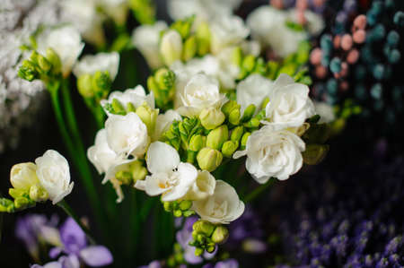 Beautiful bouquet of white freesia in the transparent wrapping paper in the blurred background in the flower shop