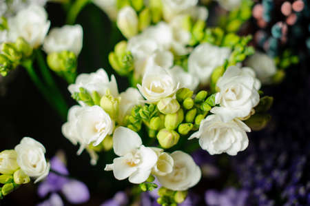 Beautiful spring bouquet of white freesia in the transparent wrapping paper in the blurred background in the flower shop Stock fotó
