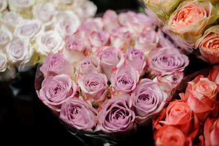 Beautiful bouquet of violet color roses in the transparent wrapping paper in the blurred background in the flower shop Stock fotó