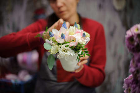 Florist girl holding a pot of tender flowes decorated with leaves and blue muscari in the blurred background of flower shop