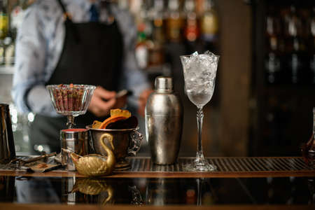 Beautiful view of bar on which stands glass with ice, shaker and vase with slices of fruits.