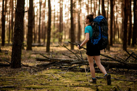 Pretty woman walks in the wood with backpack on her back.