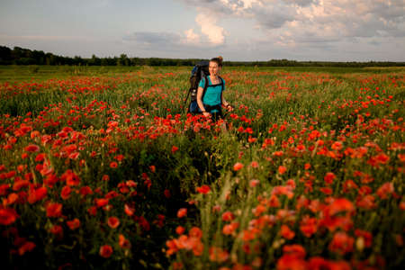 view of young woman tourist who walks on field of red poppies.