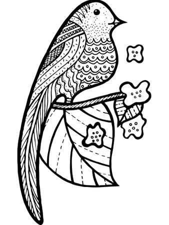 Pájaro En Rama Con Hojas Y Flores Para Colorear Página. Ilustración ...