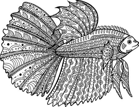 fish hand drawn coloring page. doodle art for adult and children coloring book.