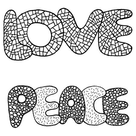 Dibujo Para Colorear Diseño Con Símbolo De Paz Y Flores ...