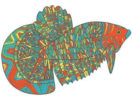 Doodle fish - colorful version of coloring page