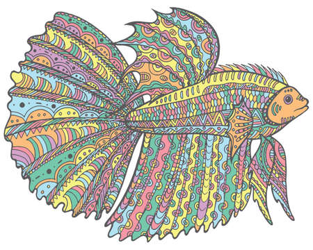 Doodle betta fish - colorful version of coloring page