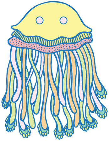 Vector cartoon jellyfish in pastel tumblr colors. Hand drawn vector isolated illustration. Graphic art with sea animal for design, stickers, tshirt, print