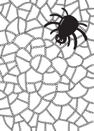 meditative: Coloring page with spider and web in water drops or raindrops Illustration
