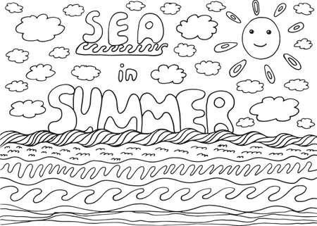 Página Para Colorear Con Mar Y Verano De Las Palabras Ilustraciones ...