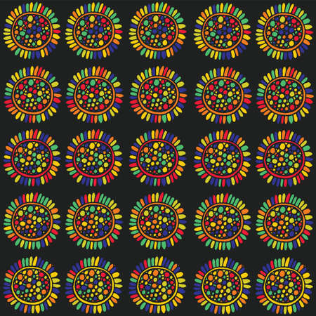 rainbow abstract: Zentangle sunflower seamless pattern. colorful doodle art. Vector illustration for design,textile,fabric.