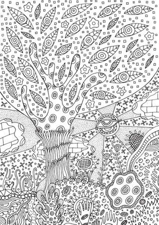 Coloring page with surreal landscape - tree, flower and sky. Vector zentangle illustration for adults or kids. Zendoodle vector art. Doodle cartoon fairy tales graphic art. Ilustração