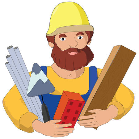 Builder profession flat illustration. Vector art with foreman worker and his instruments.