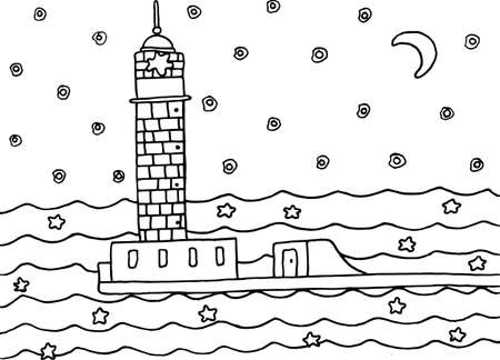 Coloring Page With Lighthouse In The Night Sea Black And White Hand Drawn Vector Illustration