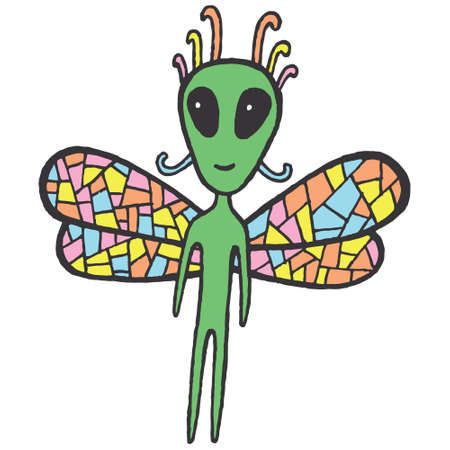 ufology: Fairy tales sticker with dragonfly alien. Cartoon funny vector art. Hand drawn doodle illustration for design. Illustration