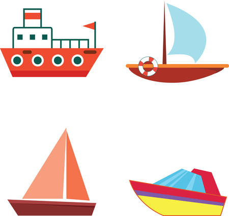 oceanic: Cartoon boats and ships - isolated flat vector set with icons. Cartoon touristic ships. Illustration for design and decoration. Illustration