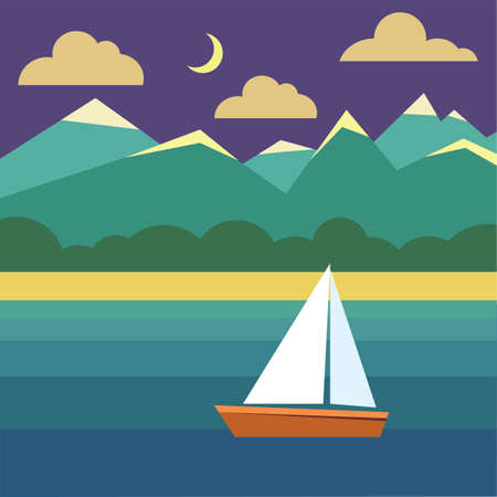 Boat on water. Night landscape with ship, ocean, sky, moon, exotic island with mountains and clouds. Vector flat illustration with nature and boating in tropical sea.