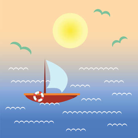 beach sunset: Boat on sunset water. Landscape with ship, ocean, sky, sun. Vector flat illustration with nature and boating in tropical sea.