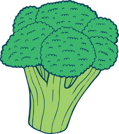 Broccoli coloring page hand drawn illustration for adult and children. Vector art for coloring book, textile, print, poster, design.