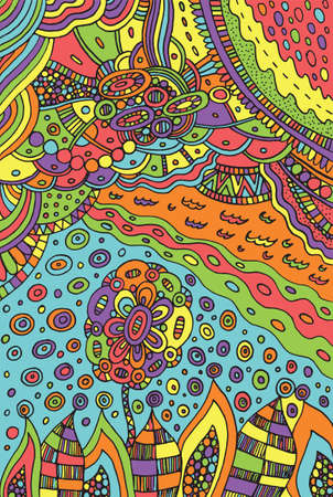 Image with doodle flower and landscape - plants and sky. Vector zentangle illustration for adults or kids. Zendoodle vector art. Doodle cartoon fairy tales graphic art.