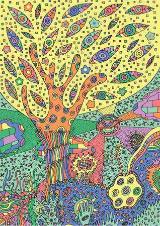 Coloriage Arbre Du Ciel.Illustration Coloree Avec Paysage Surrealiste Arbre Fleur Et Ciel Coloriage Vecteur Zentangle Pour Adultes Ou Enfants Zendoodle Art Vectoriel