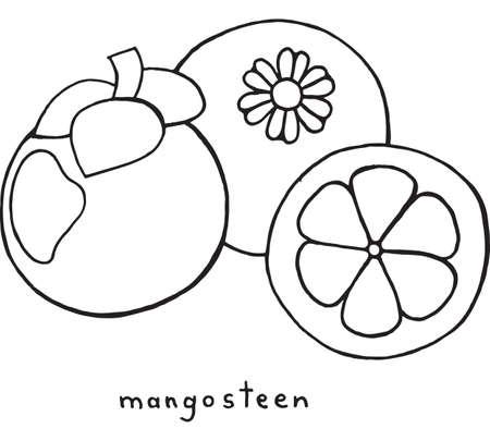 Fruta Granada Para Colorear. Vector Gráfico Colorido Arte De Dibujo ...