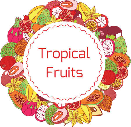 Colorful hand drawn circle frame and label with tropical exotic fruits. Vector graphic art for design, textile, fabric, cards and illustrations.