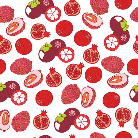 Pomegranate, lychees and mangosteen seamless pattern, Graphic art background with tropical exotic fruits for web, design, textile, fabric.
