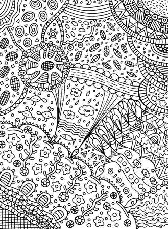 Coloring page in doodle abstract style.
