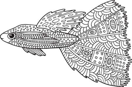 Doodle Lindo Pez. Página Para Colorear De Arte Zen Para Adultos ...