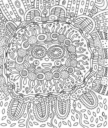 Maya Gesicht. Doodle Malvorlagen für Erwachsene mit maya Standard-Bild - 87765225