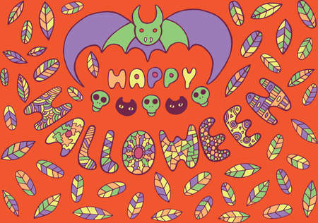autumn colouring: Greeting card for haloween.