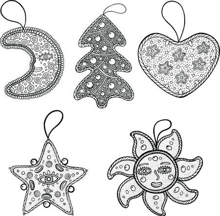 set of christmas decoration for christmas tree star moon sun heart and