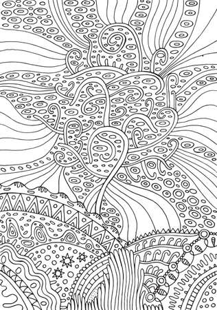 Rainbow tree of life. Surreal fantasy psychedelic coloring page for adults. Vector illustration.