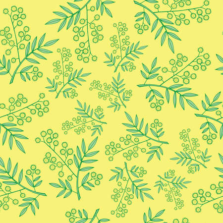 Mimosa branches seamless pattern. Cartoon and doodle styled background for fabric, print and textile design. Vector illustration.