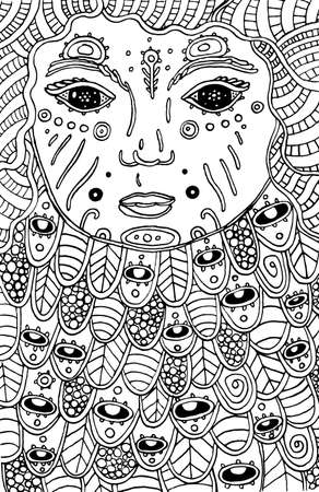Surreal cosmic child - doodle coloring page for adults. Fantastic face with magic eyes. Ink outline artwork. Vector illustration. Illustration