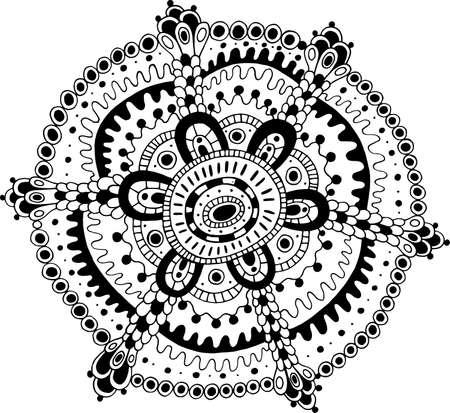 Doodle mandala coloring page for adults. Cartoon relax and meditative antistress art. Vector illustration. Ilustração