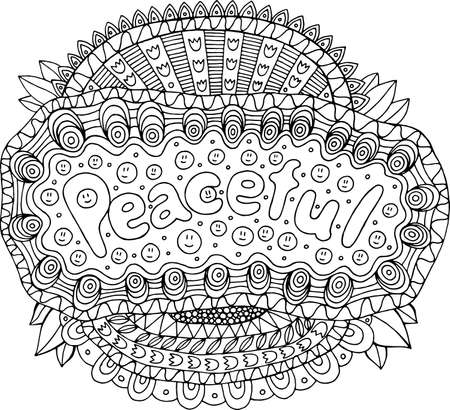 Coloring page for adults with mandala and peaceful word. Doodle lettering ink outline artwork. Vector illustration. Illustration