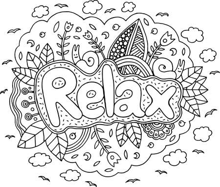Coloring page for adults with mandala and relax word. Doodle lettering ink outline artwork. Vector illustration. Vectores
