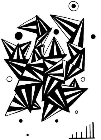 Doodle sketch triangles and circles, hand drawn cartoon line artwork illustration. Stock Illustratie