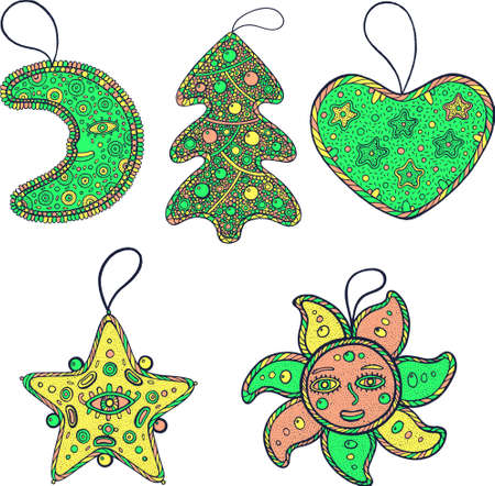 Set of Christmas decoration for christmas tree - star, moon, sun, heart and christmas tree. Psychedelic art collection. Vector illustration.