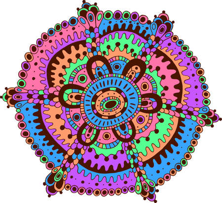 Doodle mandala art. Cartoon relax and meditative psychedelic artwork with pastel neon colors. Vector illustration.
