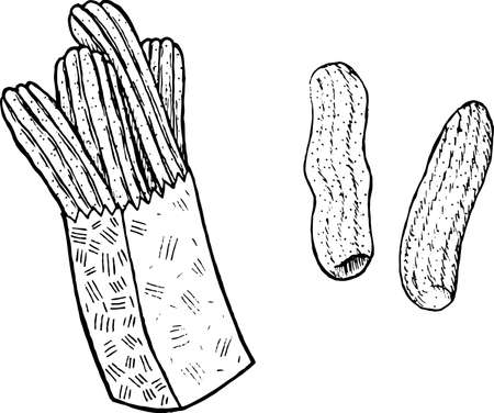 Doodle coloring page for adults with churros. Ink art with spanish food. Illustration