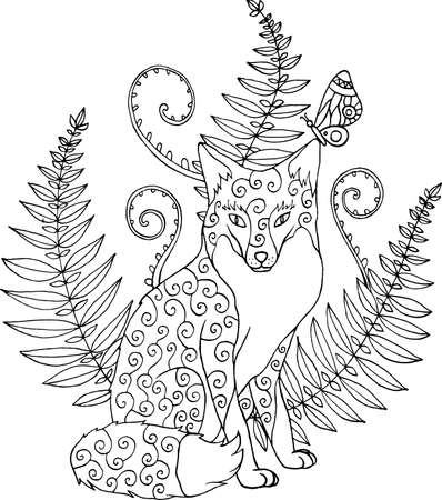 Tribal ornated zentangle fox with forest fern. Artwork fot coloring book for adults. Vector illustration. Vettoriali
