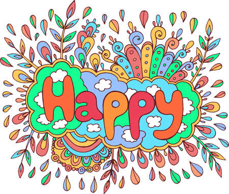Art with mandala and happy word. Doodle lettering fantastic artwork Vector illustration.  イラスト・ベクター素材
