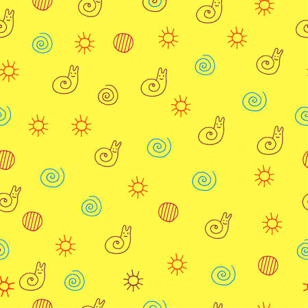 Children drawing of snail seamless pattern. Doodle kids drawn colorful art background with sun, spiral, circle and animal. Vector illustration.