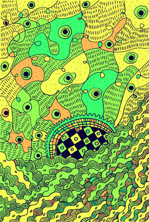 Abstract psychedelic surreal doodle green background. Vector illustration.